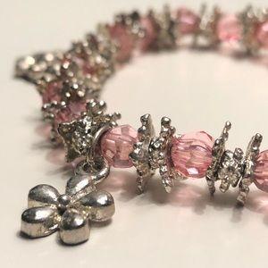 Jewelry - pink + silver flower charm bracelet!